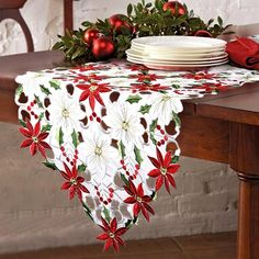 christmas home decorations - OurWarm Christmas Embroidered Table Runners Poinsettia Holly Leaf Table Linens for Christmas Decorations 15 x 69 Inch *** You can get even more details by clicking the picture. (This is an affiliate link). Christmas Dining Table, Christmas Table Decorations, Decoration Table, Table Centerpieces, Coffee Table Runner, Modern Table Runners, New Year Table, Wedding Tablecloths, Christmas Poinsettia