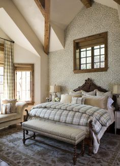 damask wallpaper and bed