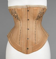 1885-87 Corset with embroidery and cording