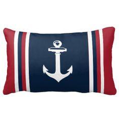 Navy Blue Red Nautical Throw Pillow Anchor