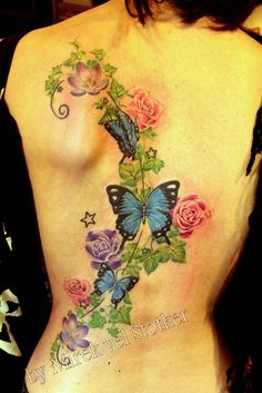 Ivy With Flowers Tattoos Terrific flower and butterfly tattoo fresh . Rose Tattoos, Flower Tattoos, Body Art Tattoos, New Tattoos, Girl Tattoos, Tattoos For Women, Tatoos, Ribbon Tattoos, Feather Tattoos