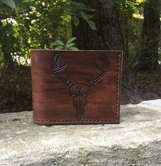 6453edb0491aa Men s Carved Leather Deer Skull Wallet by Grinestone on Etsy