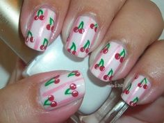 Nail Art - Sweet Cherries - Decoracion de Uñas