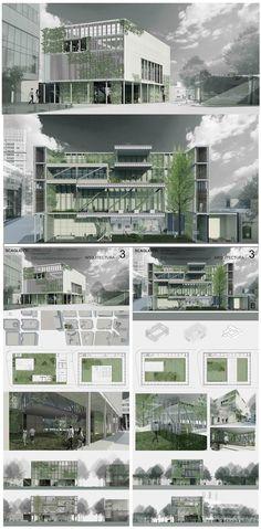 Presentation Board Design, Architecture Presentation Board, Architecture Board, Architecture Graphics, Architecture Visualization, Architecture Drawings, Concept Architecture, Landscape Architecture, Landscape Design