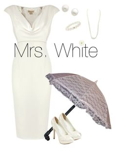 """Clue Series: Mrs. White"" by swellengant ❤ liked on Polyvore featuring Reception, David Tutera, MOOD, Ocnarf Sairutsa, Charlotte Russe and Reeds Jewelers"