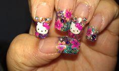 georgeous hello kitty nails