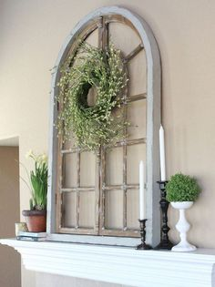 An old wooden window of almost any shape, and IN almost any shape, makes a charming shabby chic entryway component.