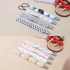 4PC Baby Boys Girls Cotton Dummy Pacifier Soother Nipple Strap Clip Chain Holder-P101