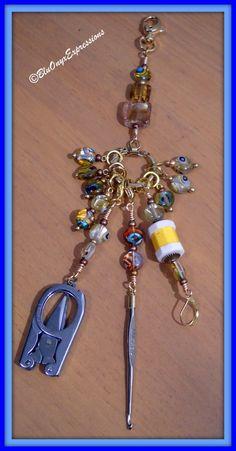 Knitters Tool Kit on a Key Chain (Stitch Markers, Mini Scissors, Row Counter, Mini Crochet Hook)