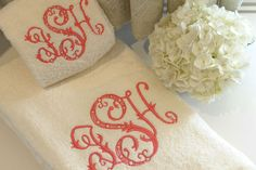 Leontine linens - monogrammed towels.
