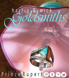 Diamond and boulder opal free form 14 karat white and 18 karat yellow gold ring displayed on Kliszweski Glass ornament #harrisandwick #handblownglass