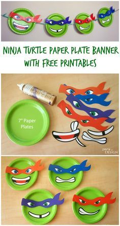 Ninja Turtle Paper Plate Banner with FREE printables plus more easy TMNT party ideas!