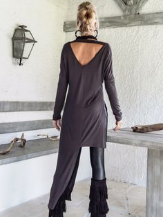 Gray Asymmetric Long Blouse / Gray Blouse with Slits / Asymmetric Plus Size Blouse / #35133 by SynthiaCouture on Etsy https://www.etsy.com/listing/255083803/gray-asymmetric-long-blouse-gray-blouse