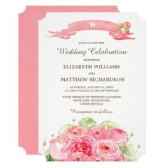 Romantic Pink Rose Watercolor Painting Design Personalized Wedding Invitations. Customize the names, date , text and all details of your Invitations. Matching Bridal Shower Invitations, Save the Date Cards, Wedding Postage Stamps, Bridesmaid to be Request Cards, Thank You Cards and other Wedding Stationery and Wedding Favors and Gifts available in the Floral Design Category of the Best Day Ever store at zazzle.com