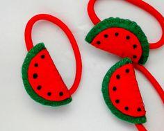 1 Handmade Felt Watermelons Hair by CottonFeltandpins on Etsy Felt Diy, Handmade Felt, Baby Crafts, Felt Crafts, Felt Hair Accessories, Candy Hair, Hair Bobbles, Felt Necklace, Felted Wool Crafts