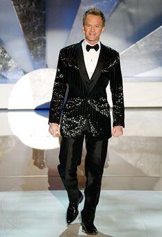 Neil Patrick Harris in a black sequin Dolce & Gabbana three piece tuxedo #suits