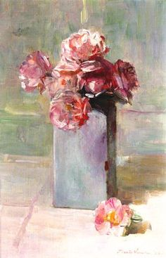 Floris Verster  WHITE DELFT VASE WITH PINK ROSES  1926