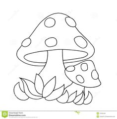 Black And White - Mushrooms Stock Illustration - Illustration of white, color: 12505448 Art Drawings For Kids, Drawing For Kids, Easy Drawings, Mushroom Crafts, Mushroom Art, Applique Templates, Applique Patterns, Colouring Pages, Coloring Books