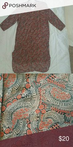 Brand New, Never Worn Dress Paisley, Plush, long sleeve, slit on both sides, 4 buttons down the middle, left top pocket, cotton blend H&M Dresses Long Sleeve