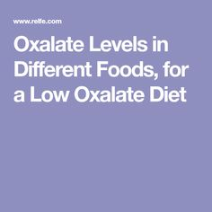 Oxalate Levels in Different Foods, for a Low Oxalate Diet