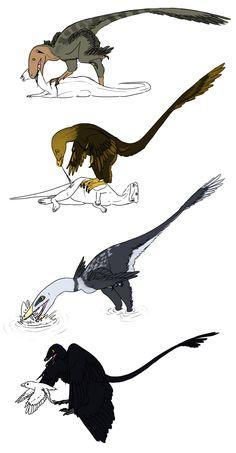 Predação... Deinonychus antirrhopus;Velociraptor mongoliensis;Unenlagia comahuensis;Microraptor zhaoianus; ~StygimolochSpinifer em deviantART