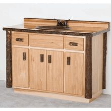 """Solid Hickory Log Vanity - 48"""", made in Minnesota"""