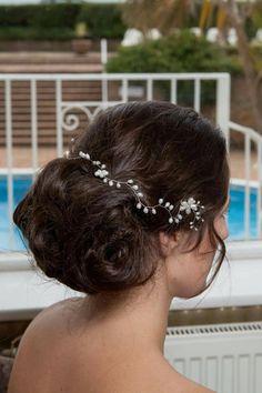 Frente perla agua dulce diadema nupcial/boda boho por TiarasByBecky