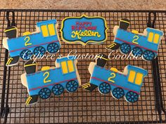 Custom Thomas the Train inspired train cookies for a second birthday party! Decorated with royal icing. Iced Cookies, Cut Out Cookies, Cute Cookies, Royal Icing Cookies, Cupcake Cookies, Sugar Cookies, Thomas The Train Birthday Party, Trains Birthday Party, Train Party