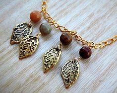 Pretty collar de hoja de oro !! Precioso anillo de Hojas dorado!