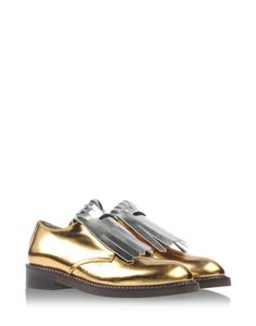 Golden brouges with silver fringe detail by Marni #Metallic Shoe Trend New Arrivals Fashion