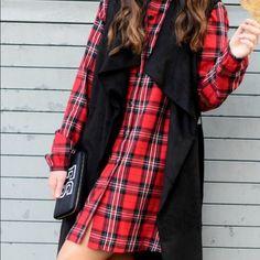 Zara red checked shirt dress NWOT! Zara red check dress. Short dress. Long sleeves. Front button closure. Lapel collar. Check print. Color: red/black. 100% cotton. Zara Dresses Long Sleeve