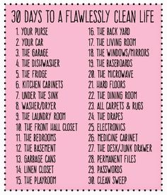30 Days to a Flawlessly Clean Life: The Ultimate Cleaning List – House Cleaning