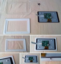 Build a custom touchscreen frame and Raspberry pi case assembly http://www.instructables.com/id/Raspberry-PI-Touch-Screen-Frame-and-Case-Assembly-/