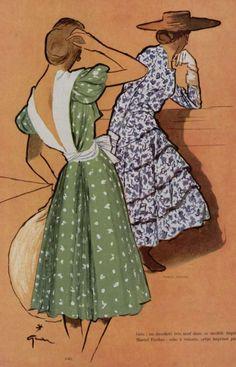 Fashion illustration by René Gruau, 1946, L: gres, R: Marcel Rochas. iL