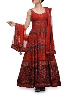 Maroon Digitally Printed Crepe Anarkali