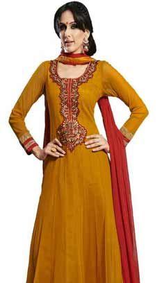 Traditional Ethnic Orange Nett Churidar Anarkali Suit, Dress