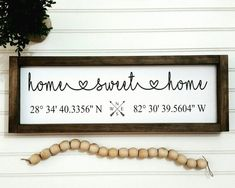 Home Sweet Home Wood Sign Home Sweet Home Custom Wooden Signs Housewarming Gift Coordinates Wooden Sign Latitude Longitude GPS Sign DIY Wood Signs Coordinates Custom Gift GPS Home Housewarming Latitude Longitude Sign Signs Sweet Wood Wooden Wood Signs For Home, Diy Wood Signs, Pallet Signs, Home Design, Sweet Home, Sweet Sweet, Custom Wooden Signs, Latitude Longitude, Primitive Homes
