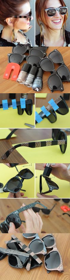 DIY sunglasses - make ordinary shades more colorful and fun!