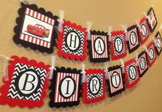 Cars Inspired Disney Happy Birthday Banner - Black Chevron & Red Stripes - Party Pack Specials Available. $26.00, via Etsy.
