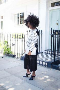 monochrome batwing stripe top, black culottes, aldo mules, igobyfrankie, freddie tietcheu, asos personal stylist, afro, aldo, pieces, fashion blog