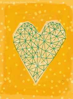 Geometric Heart in Yellow Archival Art Print by Paula Mills for Sweet William - small and medium size