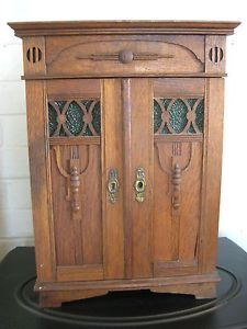 Antique Miniature Apprentice Piece Arts & Crafts Oak Wardrobe Collector Cabinet