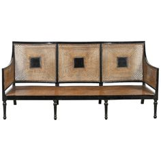 Italian Black Framed Lacquered Caned Bench   From a unique collection of antique and modern benches at https://www.1stdibs.com/furniture/seating/benches/