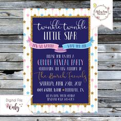 """Gender Reveal Invitation // Twinkle Twinkle Little Star // Pink and Blue // 5""""x7"""" // Personalized Printable by AsterLaneDesign on Etsy https://www.etsy.com/listing/293189303/gender-reveal-invitation-twinkle-twinkle"""
