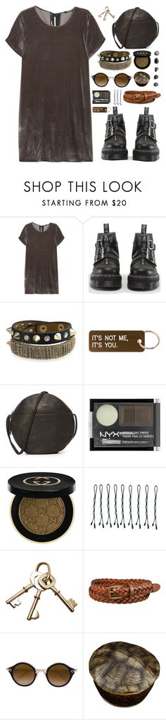 """it's better to leave than to be replaced"" by megan-vanwinkle ❤ liked on Polyvore featuring Madewell, Dr. Martens, Bling Jewelry, Various Projects, BAGGU, NYX, Gucci, BOBBY, Uniqlo and Chrome Hearts"