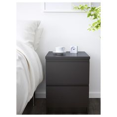 Buy IKEA MALM Chest of 2 Drawers Black-brown. Smooth running drawers with pull-out stop. Ikea Drawers, Dresser Storage, Chest Of Drawers, Fine Furniture, Furniture Making, Bedroom Furniture, Ikea Malm Nightstand, Hack Ikea, Decor Room