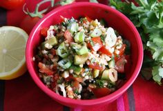 Turkish bulgar salad with cracked wheat, fresh vegetables and herbs with a spicy lemon and tomato dressing.