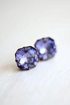 Tanzanite Post Crystal Earrings