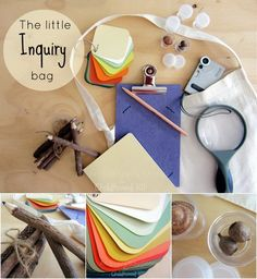 The Little Inquiry Bag - An Everyday Story for Childhood 101  - measuring tape, magnifying glass, paint swatches...