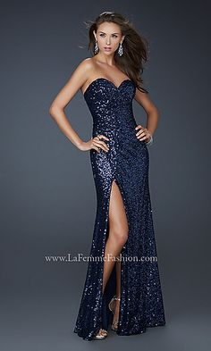 Floor Length Strapless Sequin Gown by La Femme at PromGirl.com